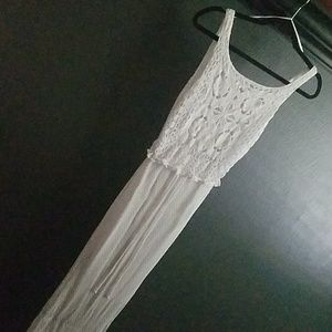 NWOT White Crochet Maxi Dress